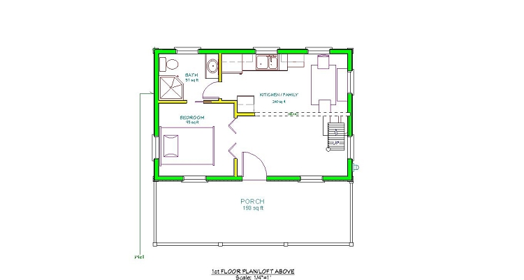 Download 16 x 24 garage plans with loft plans free for 12x24 cabin floor plans