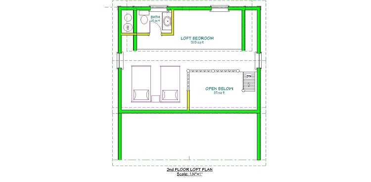 Adirondack Cabin Plans, 18'x24' with Cozy Loft and Front Porch, 1.5 ...