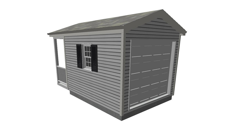 Tool shed plans with porch 10 39 x 12 39 for Tool shed plans