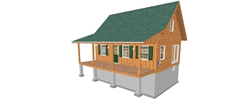 Adirondack Cabin Plans 20'x28' with Loft,Full Foundation