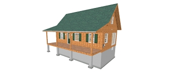 Adirondack Cabin Plans 20'x32' with Loft,Full Foundation