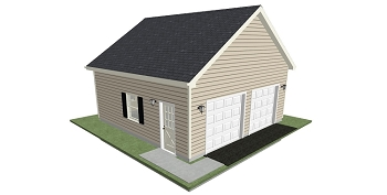 Garage Plans 24' x 24' x 10' End Load