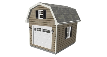 Barn Shed Plans with Loft 12' x 16'